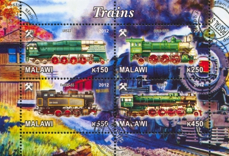 Malawi - CIRCA 2012: stamp printed by Malawi, shows Steam locomotive, circa 2012 Stock Photo - 22888561