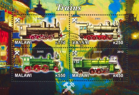 Malawi - CIRCA 2012: stamp printed by Malawi, shows Steam locomotive, circa 2012 Stock Photo - 22888562