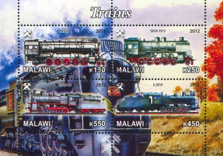 Malawi - CIRCA 2012: stamp printed by Malawi, shows Steam locomotive, circa 2012 Stock Photo - 22888563