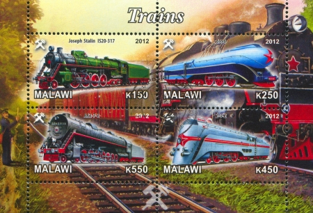 Malawi - CIRCA 2012: stamp printed by Malawi, shows Steam locomotive, circa 2012 Stock Photo - 22888564