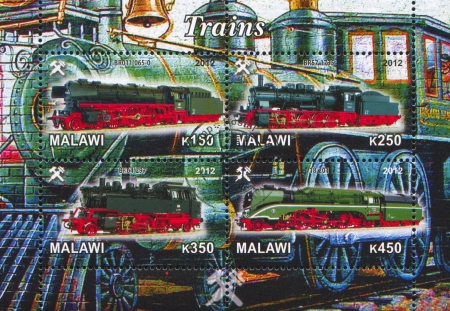 Malawi - CIRCA 2012: stamp printed by Malawi, shows Steam locomotive, circa 2012 Stock Photo - 22888565