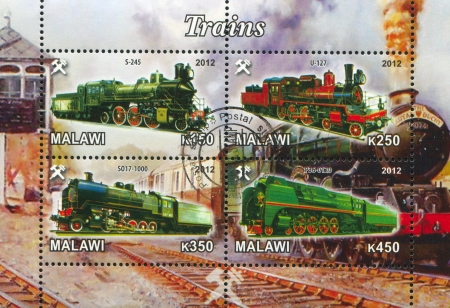 Malawi - CIRCA 2012: stamp printed by Malawi, shows Steam locomotive, circa 2012 Stock Photo - 22888566