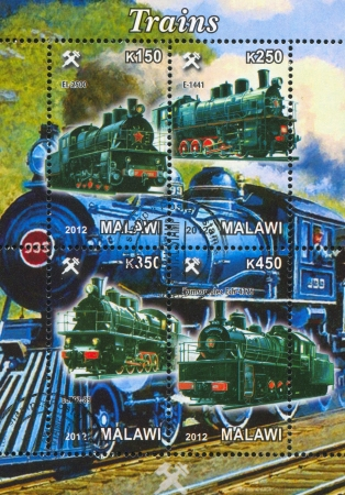 Malawi - CIRCA 2012: stamp printed by Malawi, shows Steam locomotive, circa 2012 Stock Photo - 22888567