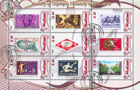 olympic symbol: MALAWI - CIRCA 2012: stamp printed by Malawi, shows Olympic games, circa 2012 Editorial