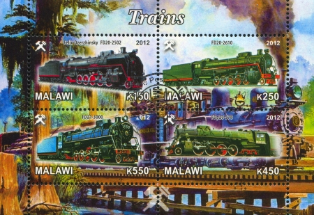 Malawi - CIRCA 2012: stamp printed by Malawi, shows Steam locomotive, circa 2012 Stock Photo - 22888592