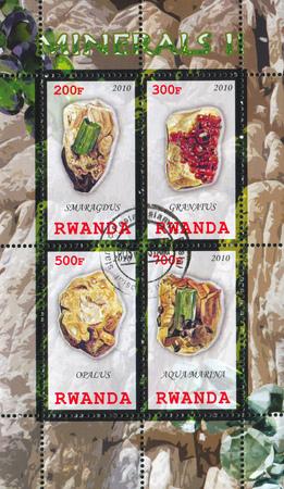 RWANDA - CIRCA 2010: stamp printed by Rwanda, shows Aquamarine, circa 2010 Stock Photo - 22888600