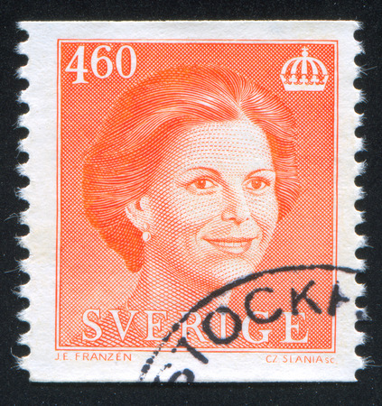 the statesman: SWEDEN - CIRCA 1986: stamp printed by Sweden, shows Queen Silvia, circa 1986