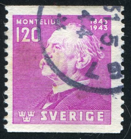 boffin: SWEDEN - CIRCA 1943: stamp printed by Sweden, shows Oscar Montelius, circa 1943
