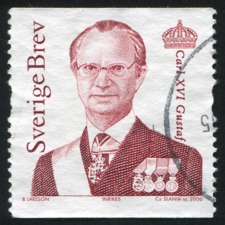 king carl xvi gustaf: SWEDEN - CIRCA 2000: stamp printed by Sweden, shows King Carl XVI Gustaf, circa 2000.