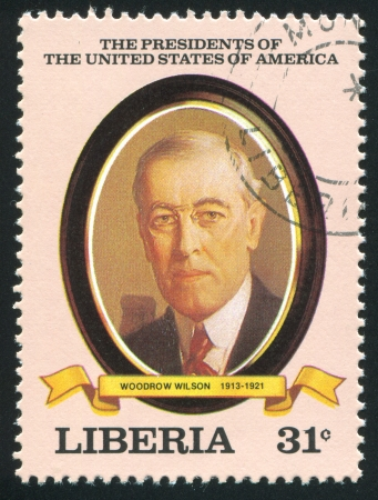 wilson: LIBERIA - CIRCA 1982: stamp printed by Liberia, shows President of the United States Woodrow Wilson, circa 1982