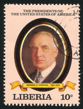 warren: LIBERIA - CIRCA 1982: stamp printed by Liberia, shows President of the United States Warren G. Harding, circa 1982 Editorial