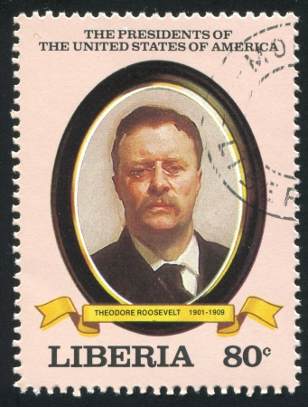 roosevelt: LIBERIA - CIRCA 1982: stamp printed by Liberia, shows President of the United States Theodore Roosevelt, circa 1982