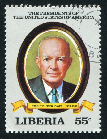 eisenhower: LIBERIA - CIRCA 1982: stamp printed by Liberia, shows President of the United States Dwight D. Eisenhower, circa 1982