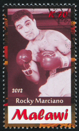 muffle: Malawi - CIRCA 2012: stamp printed by Malawi, shows Rocky Marciano, circa 2012