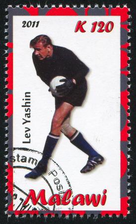 uppers: Malawi - CIRCA 2011: stamp printed by Malawi, shows Lev Yashin, circa 2011