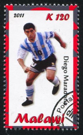 uppers: Malawi - CIRCA 2011: stamp printed by Malawi, shows Diego Maradona, circa 2011