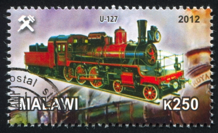 Malawi - CIRCA 2012: stamp printed by Malawi, shows Steam locomotive, circa 2012 Stock Photo - 23384210