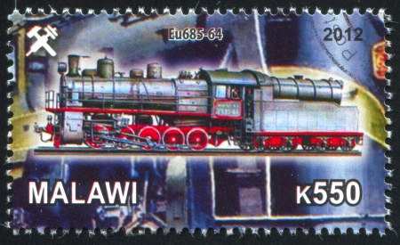 Malawi - CIRCA 2012: stamp printed by Malawi, shows Steam locomotive, circa 2012 Stock Photo - 23384213