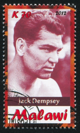 Malawi - CIRCA 2012: stamp printed by Malawi, shows Jack Dempsey, circa 2012