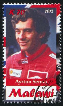 Malawi - CIRCA 2012: timbre imprimé par le Malawi, montre Ayrton Senna, circa 2012 Banque d'images - 23384226
