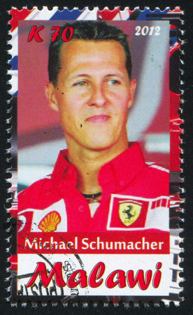 michael schumacher: Malawi - CIRCA 2012: stamp printed by Malawi, shows Michael Schumacher, circa 2012 Editorial