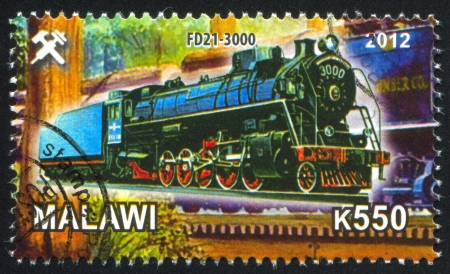 Malawi - CIRCA 2012: stamp printed by Malawi, shows Steam locomotive, circa 2012 Stock Photo - 23384325