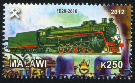 Malawi - CIRCA 2012: stamp printed by Malawi, shows Steam locomotive, circa 2012 Stock Photo - 23384326