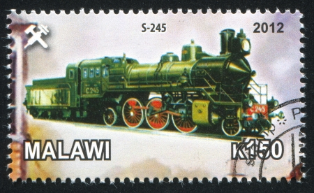 Malawi - CIRCA 2012: stamp printed by Malawi, shows Steam locomotive, circa 2012 Stock Photo - 23384333