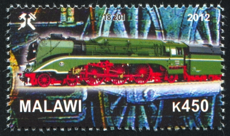 Malawi - CIRCA 2012: stamp printed by Malawi, shows Steam locomotive, circa 2012 Stock Photo - 23384336