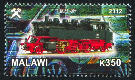 Malawi - CIRCA 2012: stamp printed by Malawi, shows Steam locomotive, circa 2012 Stock Photo - 23384337