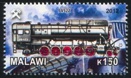 Malawi - CIRCA 2012: stamp printed by Malawi, shows Steam locomotive, circa 2012 Stock Photo - 23384341