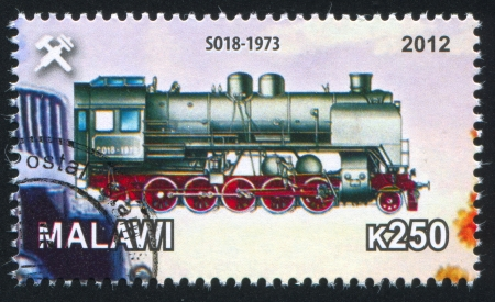 Malawi - CIRCA 2012: stamp printed by Malawi, shows Steam locomotive, circa 2012 Stock Photo - 23384342