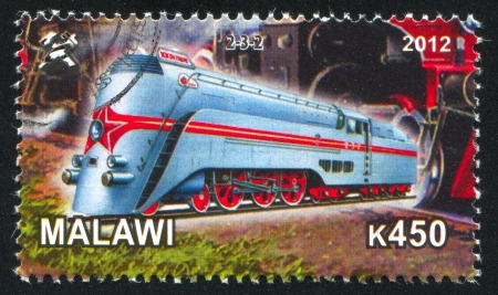 Malawi - CIRCA 2012: stamp printed by Malawi, shows Steam locomotive, circa 2012 Stock Photo - 23384343