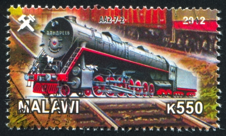 Malawi - CIRCA 2012: stamp printed by Malawi, shows Steam locomotive, circa 2012 Stock Photo - 23384344