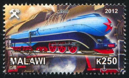 Malawi - CIRCA 2012: stamp printed by Malawi, shows Steam locomotive, circa 2012 Stock Photo - 23384345