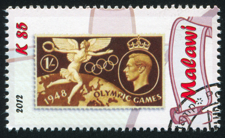 MALAWI - CIRCA 2012: stamp printed by Malawi, shows King George VI and goddess Nike, circa 2012