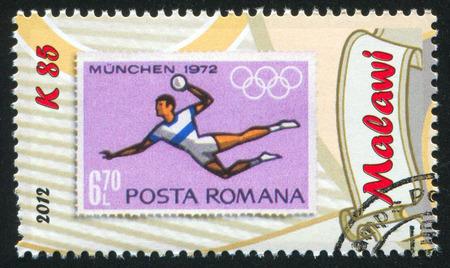 uppers: MALAWI - CIRCA 2012: stamp printed by Malawi, shows Handball, circa 2012