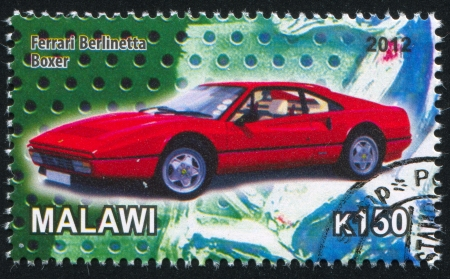 motosport: MALAWI - CIRCA 2012: stamp printed by Malawi, shows Ferrari, circa 2012