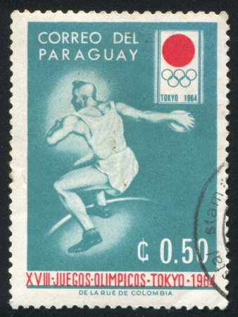 uppers: PARAGUAY - CIRCA 1964: stamp printed by Paraguay, shows Discus, circa 1964