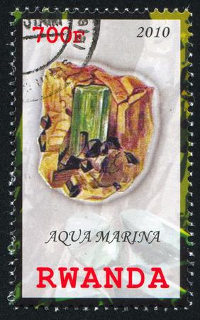 RWANDA - CIRCA 2010: stamp printed by Rwanda, shows Aquamarine, circa 2010 Stock Photo - 24483576