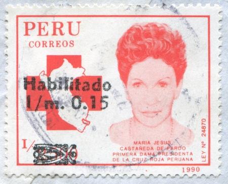 rood: PERU - CIRCA 1991: stamp printed by Peru, shows Maria Jesus Castaneda de Pardo, circa 1991 Editorial