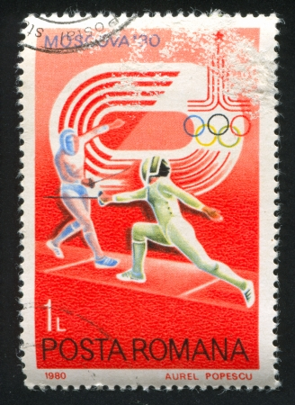 ROMANIA - CIRCA 1980: stamp printed by Romania, shows Fencing, circa 1980
