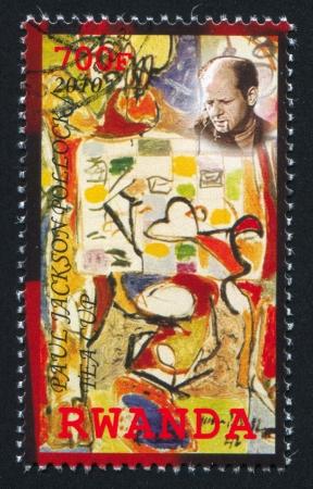 RWANDA - CIRCA 2010: stamp printed by Rwanda, shows Tea Cup by Paul Jackson Pollock, circa 2010