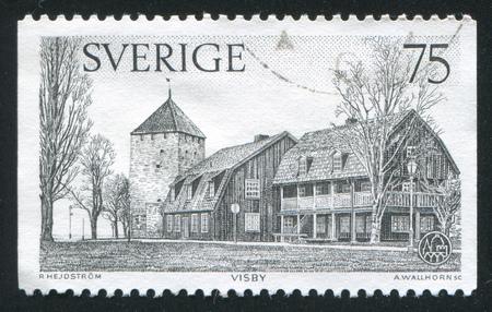 window seal: SWEDEN - CIRCA 1975: stamp printed by Sweden, shows nace, Gunpowder Tower, Visby, circa 1975