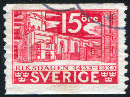 crown spire: SWEDEN - CIRCA 1935: stamp printed by Sweden, shows Old Law Courts, circa 1935