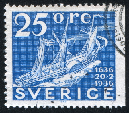 SWEDEN - CIRCA 1936: stamp printed by Sweden, shows Mail Paddle Steamship, circa 1936