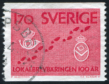 posthorn: SWEDEN - CIRCA 1962: stamp printed by Sweden, shows Footsteps and postmen badges, circa 1962