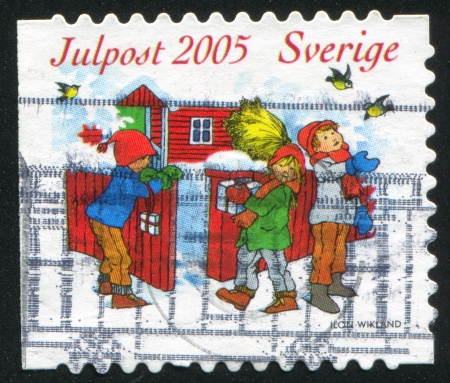 SWEDEN - CIRCA 2005: stamp printed by Sweden, shows Children near fence, circa 2005