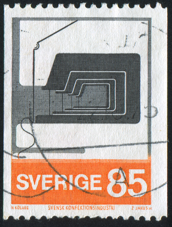 sewing machines: SWEDEN - CIRCA 1974: stamp printed by Sweden, shows Sewing machines, circa 1974