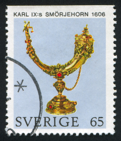 SWEDEN - CIRCA 1971: stamp printed by Sweden, shows Karl IX anointing horn, circa 1971